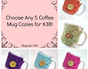 Choose ANY 5 Coffee Mug Cozies for 38.00 - Reg 45.00 - Coffee Mug Cozy - Coffee Accessories - Coffee Gifts - Teachers Gifts