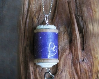 Vintage Wood Spool Pendant With Heart Charm