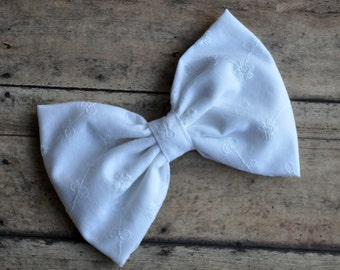 White Eyelet Fabric Bow 5.5 Inches