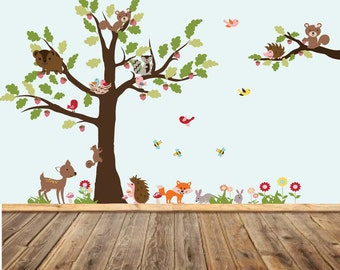 Vinyl Wall Decal Stickers Tree and Branch Set, Boy Girl Nursery, Woodland Nursery Decor, Vinyl Decals