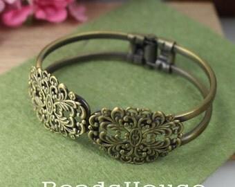 20% OFF - CB-09-Ant  2pcs Antique Brass Plated Filigree Cuff  Bracelet - Antique Bronze