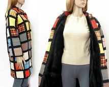 1970s Vintage Colorful Patchwork Coat / 70s Handmade Needs Work Project Coat