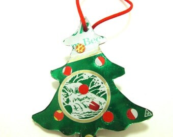 Christmas Tree Ornament made from upcycled vintage beer cans