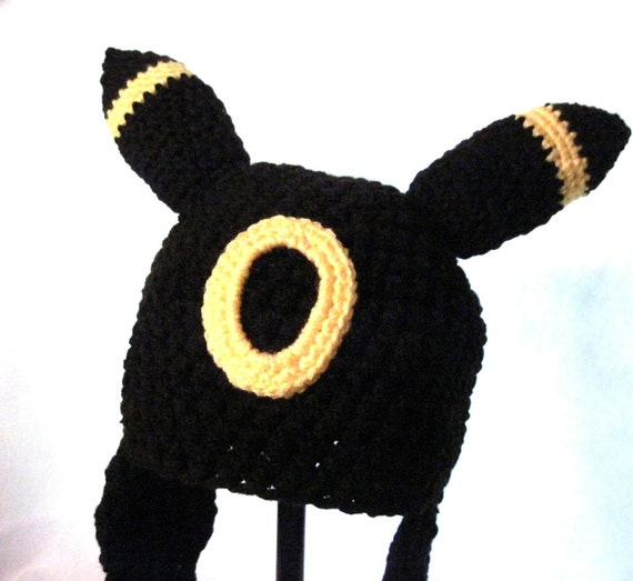 Crochet Umbreon : Umbreon Eevee Pokemon Hat Cosplay Ear Flap Hat Cute Kawaii Animal ...