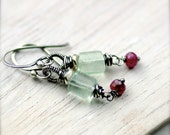 Wire Wrapped Fluorite and Ruby Gemstone Earrings Oxidized Sterling Silver