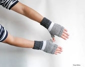 Knit fingerless gloves white, gray, charcoal, warm wool mittens unisex gift