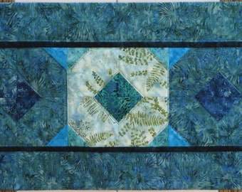 Teal and blue Quilted Batik Table Runner Handcrafted