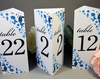 Wedding Table Numbers Standing - Trifold Table Number - Reception Numbers - Wedding Seating Numbers - Printable or Printed Numbers Custom