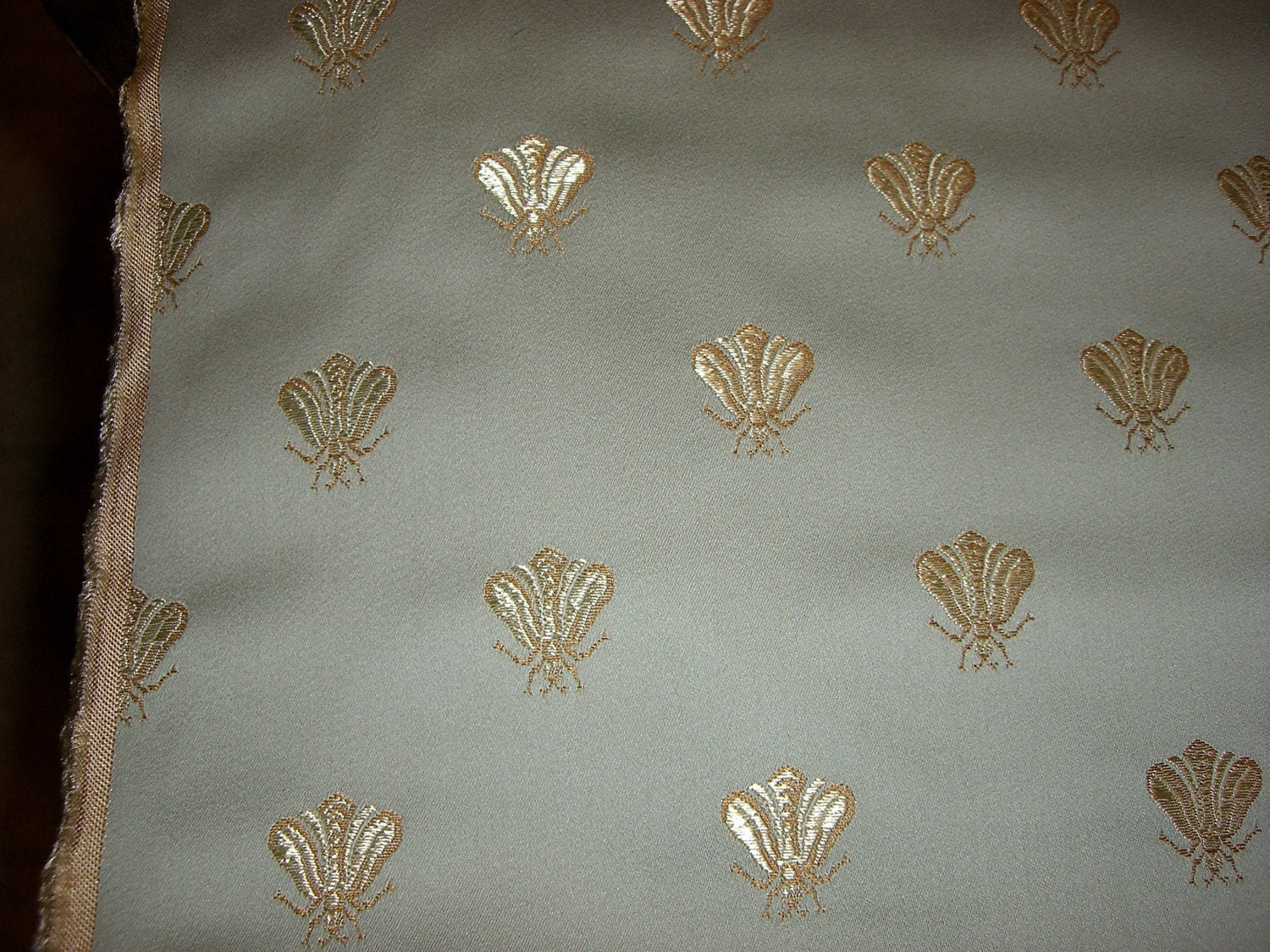 Vintage Upholstery Fabric With Golden Honey Bees