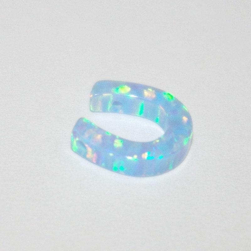 10mm light blue opal horseshoe symbol gemstone bead charm