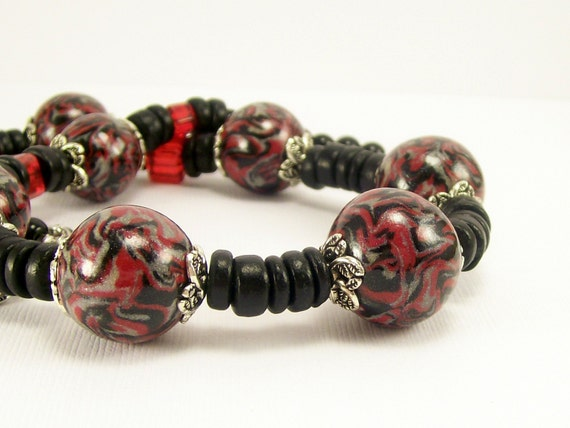 Polymer Clay Necklace, Black Red and Silver Handmade Necklace, Clay Wood and Glass, For Her, Polymer Clay Jewelry, Gift Idea