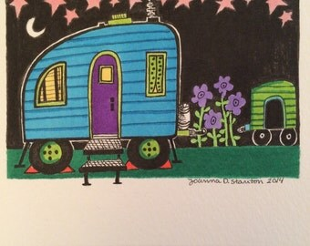 Blue Travel, Campers at Night, stars in the night sky, whimsical