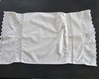 Vintage Petite Bolster Pillow Sham for Boudoir or Baby Bedding Swiss Lace Trim