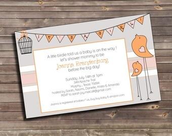 bird and banner grey & orange printable baby shower invitation