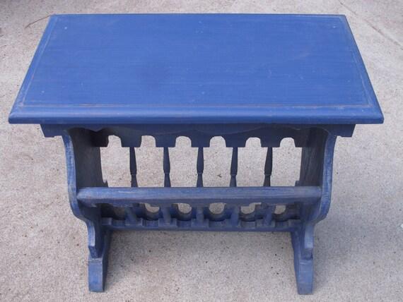 Items Similar To Vintage Side Table Blue Wood Magazine