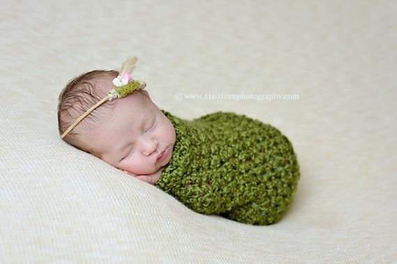 Newborn Cocoon Photo Prop in Grass Green