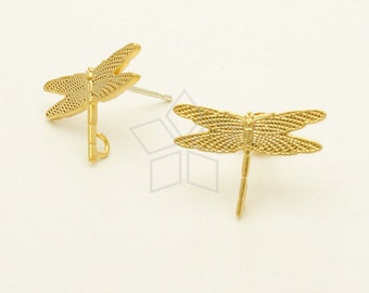 SI-611-MG / 2 Pcs - Dragonfly Stud Earring, Matte Gold Plated, with .925 Sterling Silver Post / 16mm x 11mm