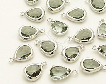 PD-876-OR / 2 Pcs - Cute Mini Glass Stone Drop Pendant (Charcoal Gray), Silver Plated over Brass / 7mm x 11mm