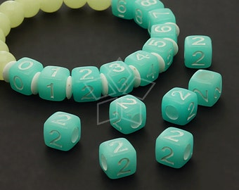 LR-055-BL / 10 Pcs - Numeric Luminous Beads, Phone Number Bead, Anniversary Date, Number Two, 2, BLUE Square / 7mm