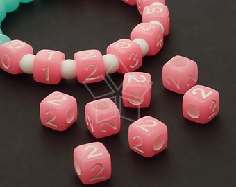 LR-065-PK / 10 Pcs - Numeric Luminous Beads, Phone Number Bead, Anniversary Date, Number Two, 2, PINK Square / 7mm