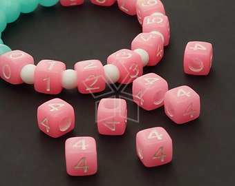 LR-067-PK / 10 Pcs - Numeric Luminous Beads, Phone Number Bead, Anniversary Date, Number Four, 4, PINK Square / 7mm