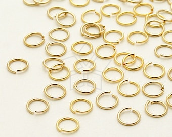 BS-122-GD / 10 Grams - 4mm Jump Rings, 16K Gold Plated Brass / 24 Gauge(0.5mm)