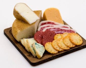 assorted cheese and meat with crackers board dollhouse miniature food