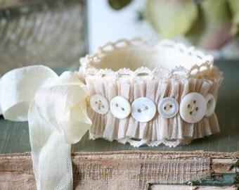 Button Bracelet, Cuff Bracelet, Fabric Cuff, Wrist Corsage, Vintage Button Cuff Bracelet, Bridesmaid Bracelet, Bride Corsage, Prom Corsage