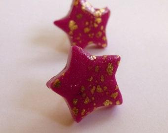 Star Stud Earrings Star Post Earrings Pink Star Stud Earrings Pink Star Post Earrings Fuschia Stud Earrings Polymer Clay Earrings