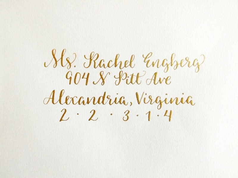 Wedding calligraphy envelope addressing gold by leenmachine