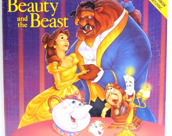 Beauty and the Beast Album Cover Purse Made Vintage Walt Disney Laserdisc LP Record Album Handbag Tote