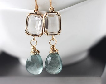 Aquamarine Earrings in 14k Gold, Delicate Dangle Earrings with Rectangle Glass Connector, March Birthstone