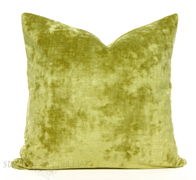 Velvet Decorative Pillow Covers : Chartreuse Velvet Pillow Cover SALE Decorative Pillow