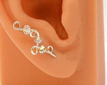 Handmade Sterling Ear Cuff Earrings Sweeps Swarovski AB Crystals