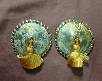 Metallic brocade pasties and tassels in yellow and blue, crystals, tassel, size medium