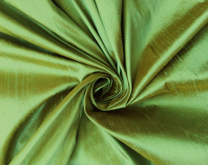 "Green Gold iridescent 100% dupioni silk fabric yardage By the Yard 45"" wide"