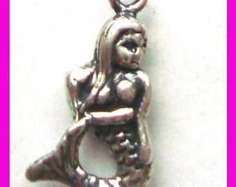 5pcs solid  sterling silver mermaid dangle charm little pendants D35