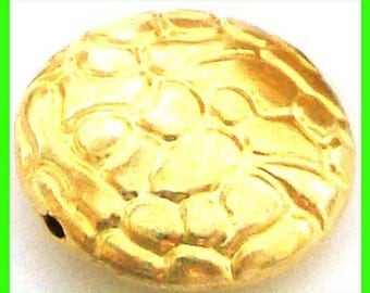 3pcs yellow Gold plated sterling silver round stamped pattern flat puff bali bead spacer 13mm VB36