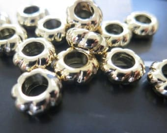 12pcs -5mm Big Hole -Gold Wheel Donut Spacer Beads 4x10mm -G1459