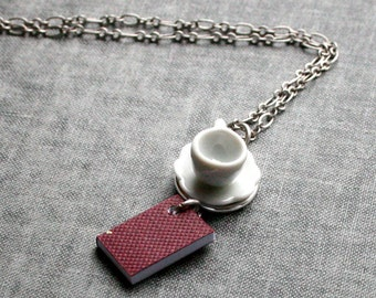 Book and Tea Cup Necklace, Burgundy Book Necklace, Miniature Book Necklace, Teacup Necklace, Coffee Cup Necklace