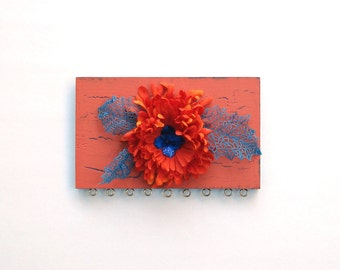 Earring display - Orange Flower, Blue Leaves - repurposed from scrap wood