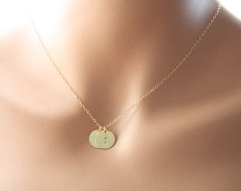 Gold Filled Two Initial Disc Necklace ,  personal gift ,everyday wear , Disc Jewelry, pendant necklace, sweet gift for someone you love