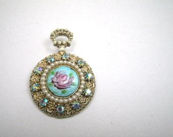 Florenza Gilded White Rhinestone Pocket Watch Brooch Steampunk 1960s