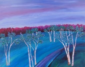 impressionistic landscape painting, titled Dreamscape, Blue Dusk, White Birches, 12in x 12in, original art, FREE SHIPPING in US