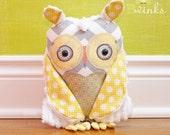 BWinks Owl stuffed Friend Pillow - Owl pillow friend - Plush Handmade Original Owl Toy - White Chenille