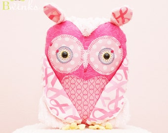 BWinks Breast Cancer Awareness Plush owl stuffed pillow decor - Pink owl Plush stuffed Owl friend