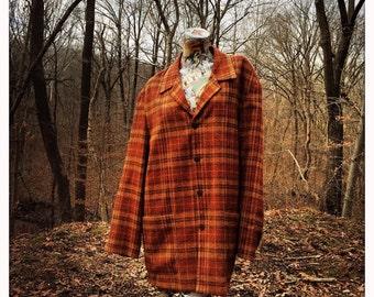 48 chest/bust 60s Men's Plaid Jacket                     International Shipping