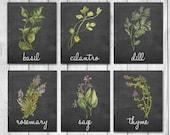 Watercolor Herb Chalkboard Kitchen Decor Wall Art Print Set of 6 Digital Art Prints