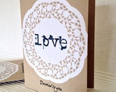 Blank note card, Valentine's, Anniversary, hand-made, hand-stamped, craft card, doily, love sentiment, Devoted to you