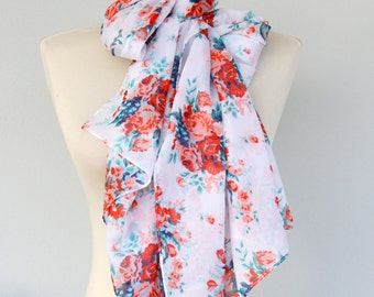 White scarf red floral scarf rose print scarf summer scarves women scarves summer accessories spring scarf bow tie scarf mothers day gift